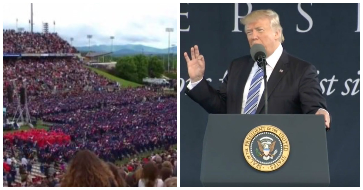 President Trump addressed a packed house at Liberty University by throwing his critics to the wolves