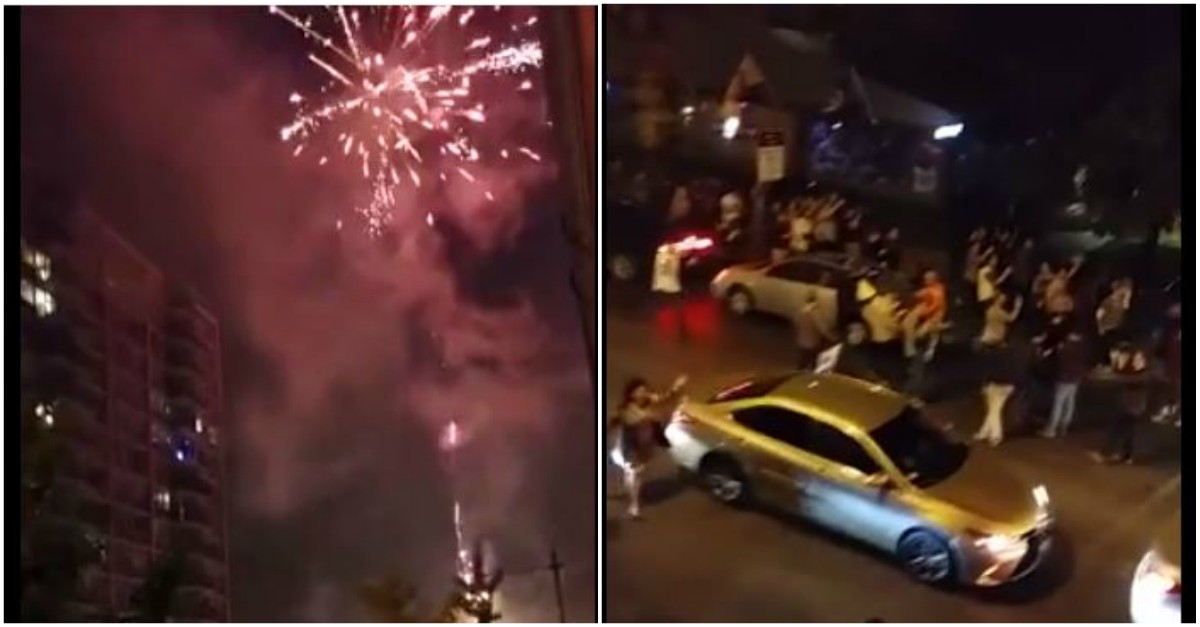 Relive the moment the Chicago Cubs brought home the series with this firework show on Clark Street