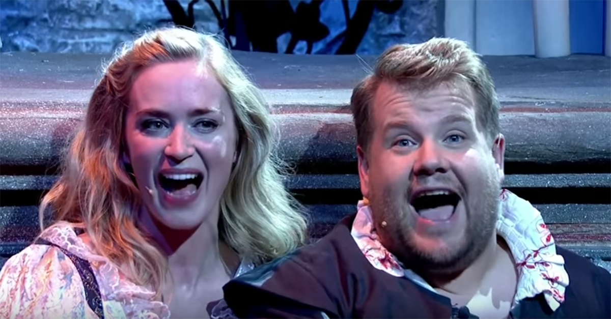 """James Corden and Emily Blunt put a hilarious spin on """"Romeo and Juliet"""" in this """"Late Late Show"""" segment"""