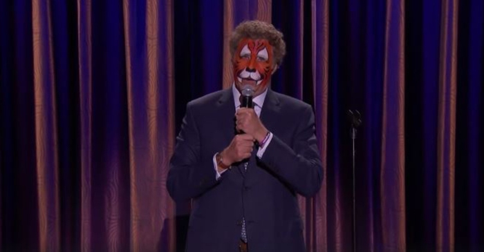 "Will Ferrell shows up to a taping of ""Conan"" in makeup and gives a hilarious performance onstage"