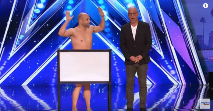 "Comedy magician strips down and reveals his special wand to Howie Mandel on ""America's Got Talent"""