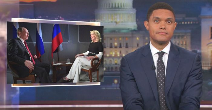 """The Daily Show"" tries to figure out who the ""slimy"" one is in Megyn Kelly's interview with Vladimir Putin"
