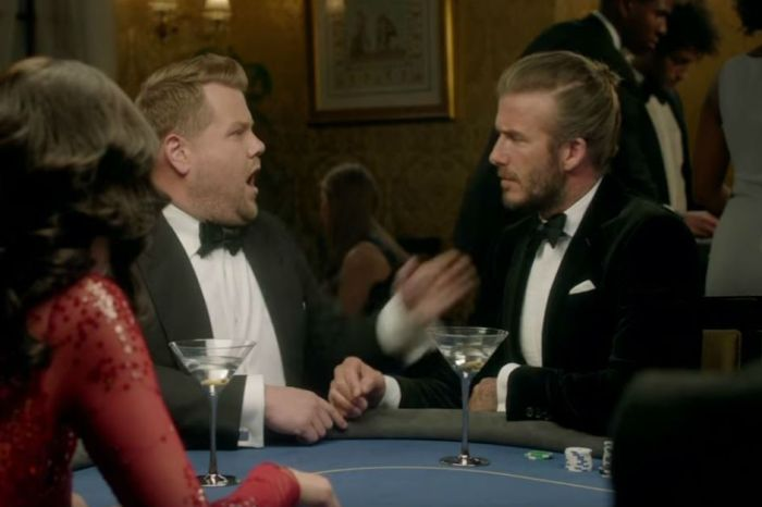 James Corden and David Beckham go head-to-head in a James Bond audition, and you can guess who won