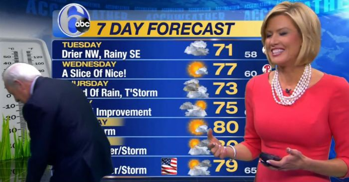 This weatherwoman lost her earring so her trusty anchorman started searching for it while the cameras were rolling