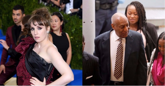 Actress Lena Dunham went on a Twitter rampage after hearing the news of Bill Cosby's mistrial