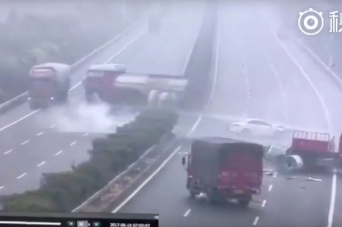 A trucker lost control and crossed into oncoming traffic, sending another truck the other way and causing an even worse wreck