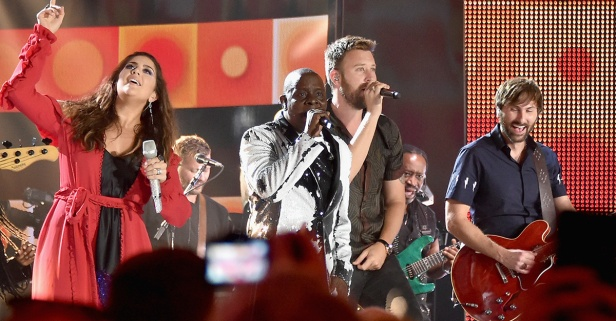 Lady Antebellum and a legendary band get the CMT Music Awards crowd on its feet
