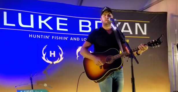 Luke Bryan nearly takes a tumble at a pre-show party
