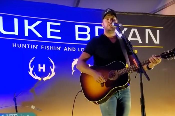 Luke Bryan nearly takes a tumble at a pre-show party