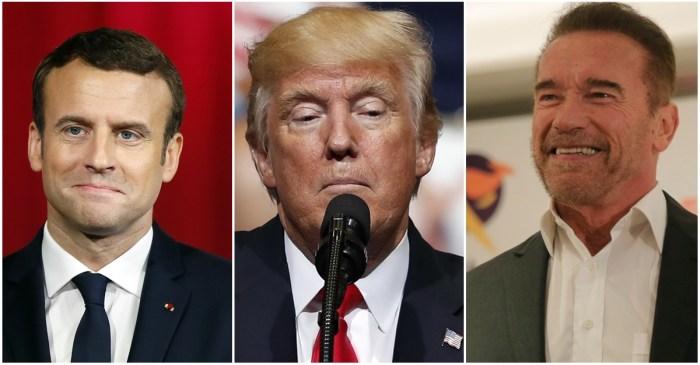 Arnold Schwarzenegger and French President Emmanuel Macron troll President Trump over climate change