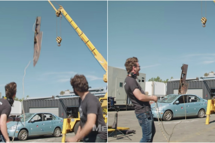 A pair of goofs dropped a giant knife on an dilapidated car just because they could