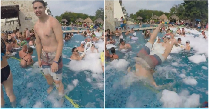 Pool-bro's pathetic back-flip attempt ends in painful failure