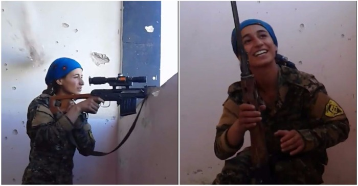 Watch this badass rebel fighter laugh it off after an ISIS bullet explodes into the wall over her head