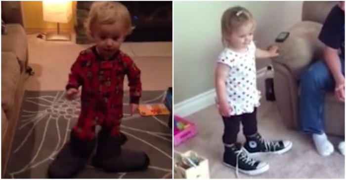 These cute kids are unable to walk very far in oversized shoes in this adorable compilation