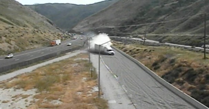 When this trucker's brakes failed, a runaway truck ramp was their only prayer