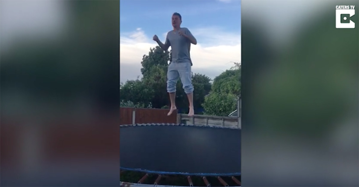 Cocky dad tries to show off to his kids on a trampoline, but this happens instead