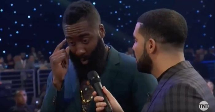 Things got a little…awkward during an interview between Drake and James Harden at the NBA Awards