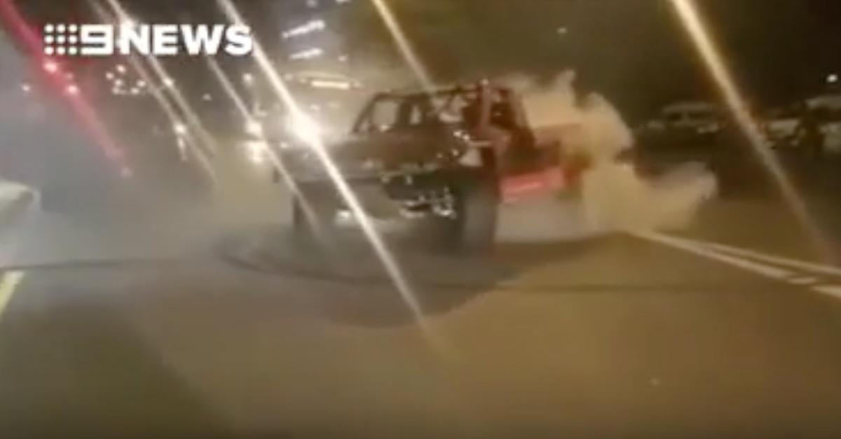 A former NASCAR driver's burnout just landed him in big trouble
