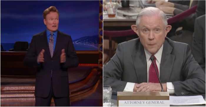 Jeff Sessions has a terrible poker face, and Conan O'Brien was more than happy to point it out