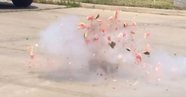 Firefighters Use Watermelon to Show What Fireworks Can Do to Human Flesh