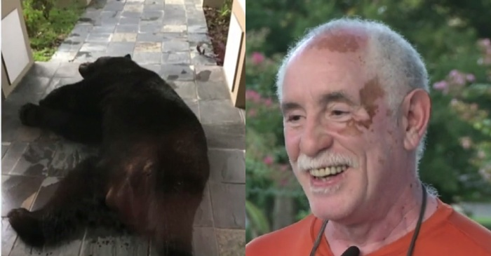 A Florida family found a giant black bear asleep on their front porch