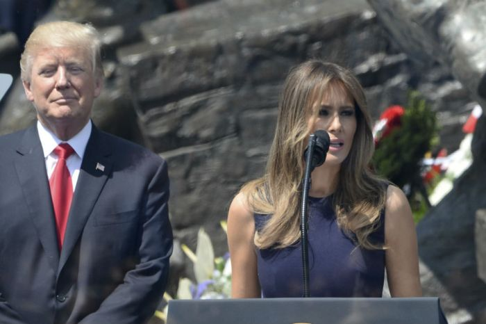 Melania Trump gave a stirring speech during her husband's second trip overseas