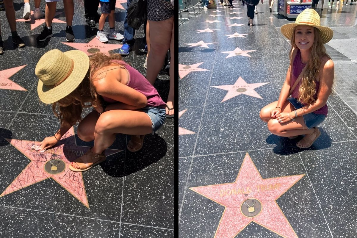 Young Woman Praised For Trying to Keep President Trump's Hollywood Star Clean