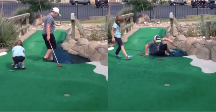 An innocent game of mini-golf ended in total humiliation for one budding golfer