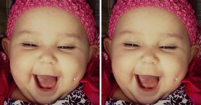 """Mom Receives Death Threats After Sharing A Picture Of Her Baby's """"Pierced"""" Cheek"""