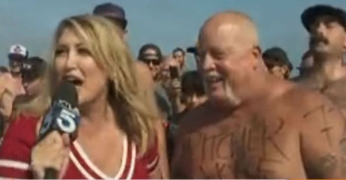 This reporter was covering a beer-chugging contest when one of the contestants lost his stomach on her