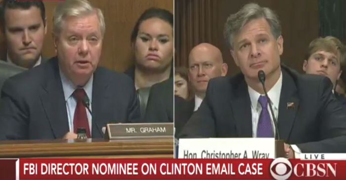 Sen. Lindsey Graham uses the confirmation hearing for the FBI Director nominee to ask about the Donald Trump Jr. emails