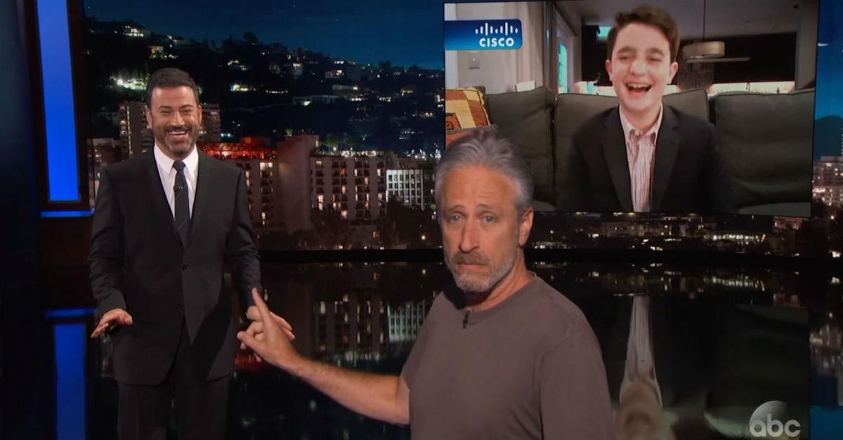 Jon Stewart crashed Jimmy Kimmel's monologue after a Jewish fan said Kimmel was his favorite late night host