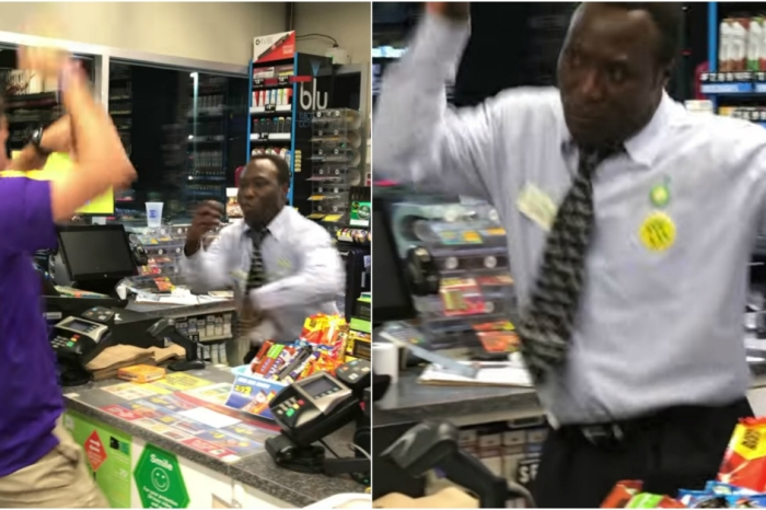 Grooviest Gas Station Cashier on the Planet Boogies While He Works