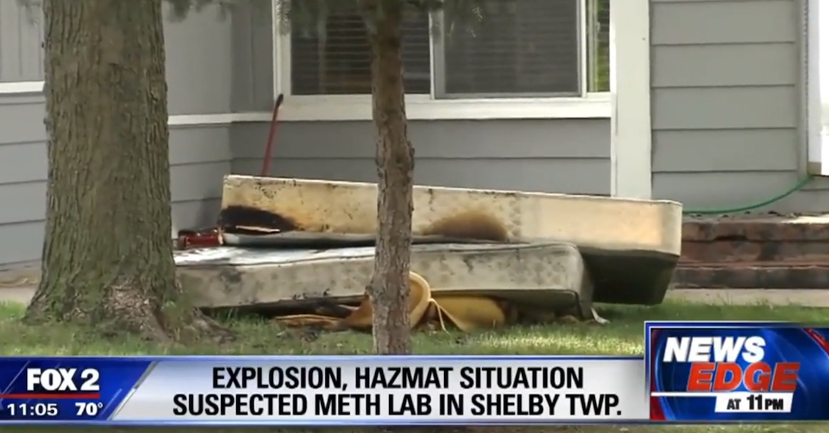Broken badly: jaws dropped when a screaming man covered in burns ran into a gym to shower after his meth lab exploded