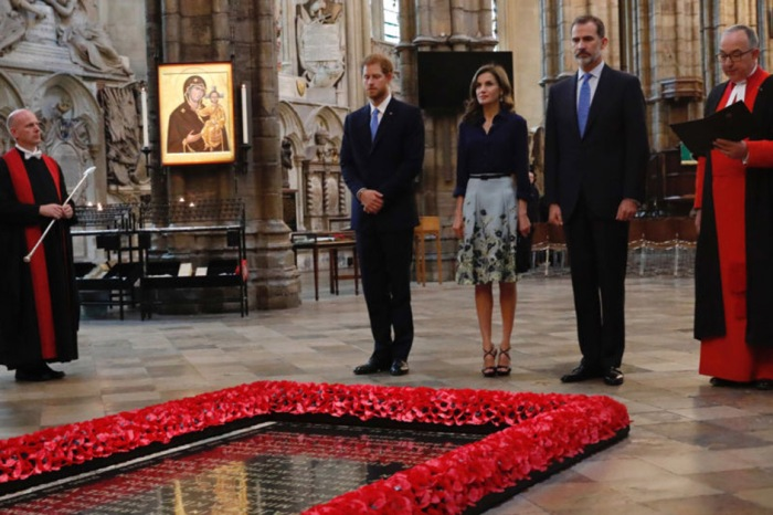 Prince Harry participated in his first official role when he escorted the king and queen of Spain to Westminster Abbey