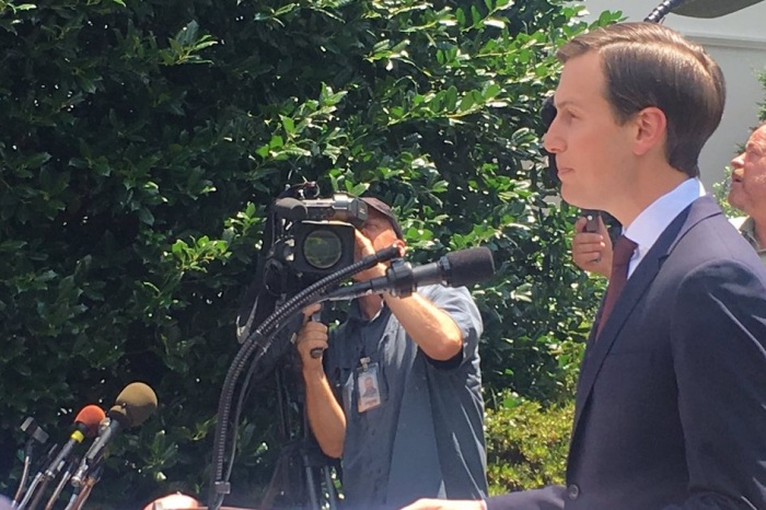 Jared Kushner speaks to reporters in an attempt to try and clear his name of suspected Russia collusion