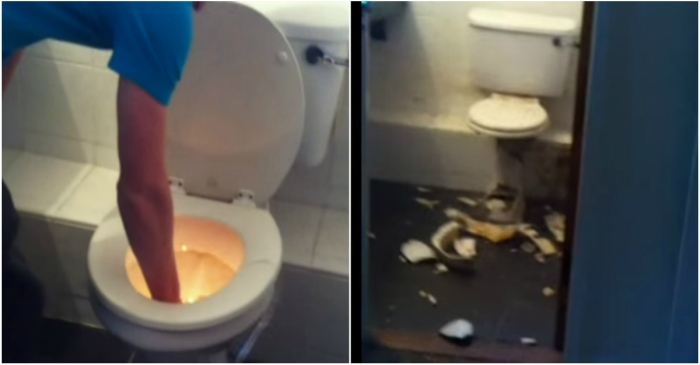 A group of Irish ragamuffins used a firecracker to unblock a toilet and created a disgusting mess in the process