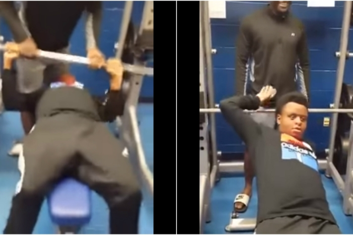 An ambitious weightlifter got a stinky surprise when he tried to bench press more than he could handle
