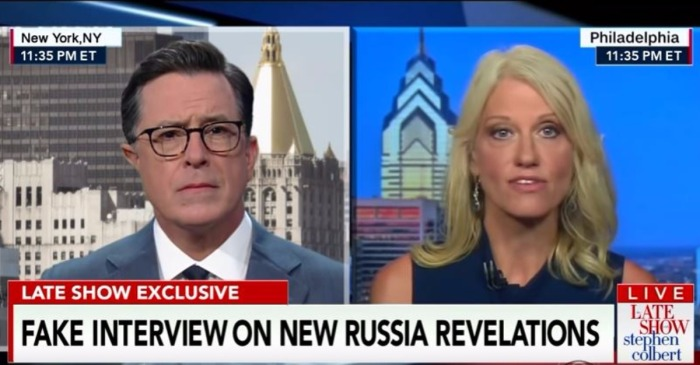 "Stephen Colbert couldn't get Kellyanne Conway on ""The Late Show,"" so he cut together this spoof interview"