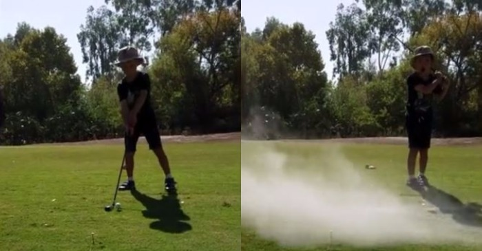 This young boy is left in complete disbelief after his father pranks him with a classic golf prank