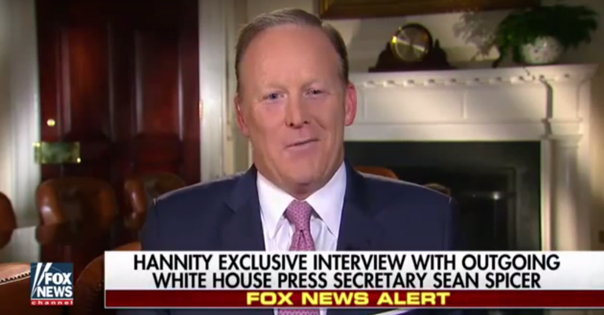 """Sean Spicer hits back at """"SNL"""" on the night of his departure from the White House"""