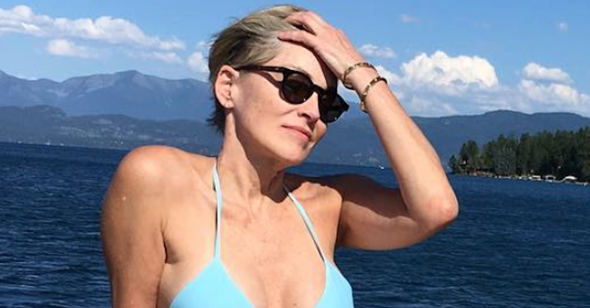 Actress Sharon Stone shows off her incredible figure in a bikini at 59 years old