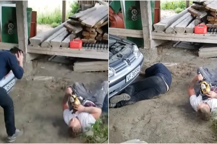 A horribly graphic chainsaw prank made a mechanic's faint-hearted colleague pass out