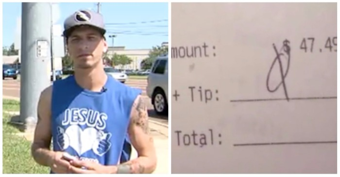 It wasn't the $0 tip but the nasty message on the receipt that has a waiter wondering what on earth went wrong