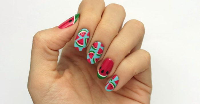 She makes this adorable watermelon mani look easy to DIY