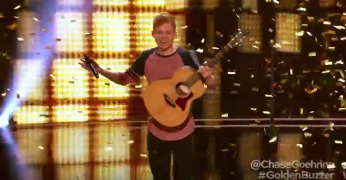 "An inspiring singer and songwriter earned the coveted Golden Buzzer from this week's ""AGT"" guest judge"