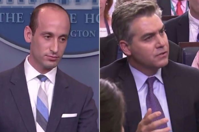 A press briefing lost all control when Stephen Miller and Jim Acosta argued over the Statue of Liberty