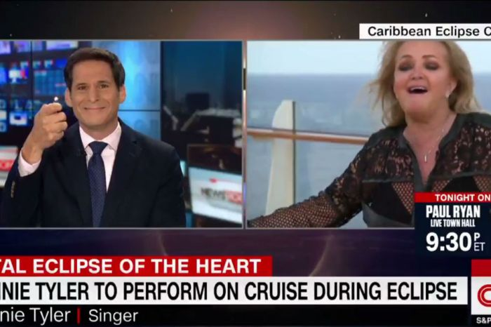 "Bonnie Tyler singing ""Total Eclipse of the Heart"" to a CNN host is as crazy as one might expect"