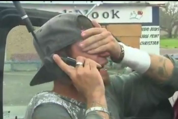 A man cries on the air while speaking to his father for the first time since Harvey struck