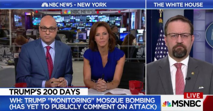 President Trump has yet to make a statement on a mosque bombing and an aide has an odd explanation why